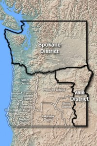 Spokane and Vale BLM Districts Map